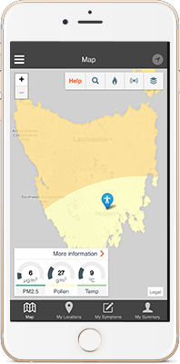 AirRater app monitoring levels of pollen