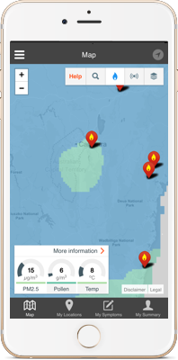 AirRater app monitoring smoke