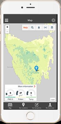 AirRater app monitoring temperature