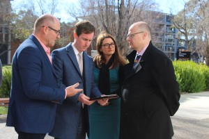 Professor Simon Haberle (ANU); Mr Chris Steel MLA, Member for Murrumbidgee, Ms Danielle Dal Cortivo, Chief Executive Officer, Asthma Foundation ACT, Dr Andrew Pengilley Acting Chief Health Officer ACT Health